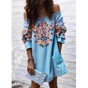 Dresses & Skirts - NWOT Light Blue Floral Print Off-Shoulders Dress